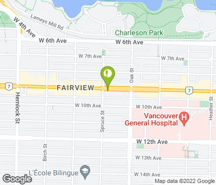 Map of 1086 West Broadway in Vancouver