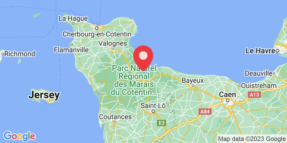 Carte du positionnement du camping La Baie des Veys
