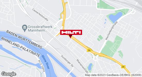 Wegbeschreibung zu Hilti Store Mannheim