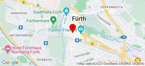 Google Map für Günstig übernachten mitten in Fürth