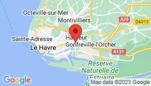 Carte de localisation du centre de contrôle technique HARFLEUR