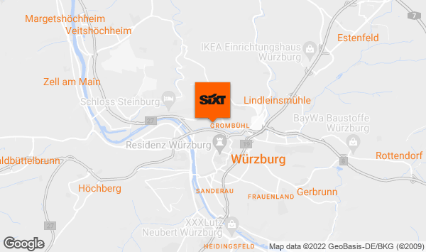 autovermietung w rzburg hauptbahnhof mit sixt. Black Bedroom Furniture Sets. Home Design Ideas