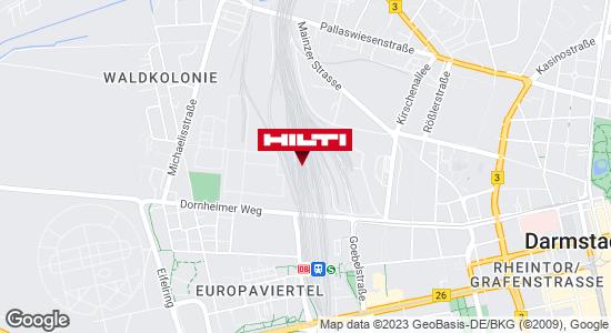 Wegbeschreibung zu Hilti Store Darmstadt