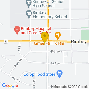 Map to The Grand Tavern - Rimbey provided by Google