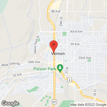 Map of Tim Hortons at 3400 32nd St, Vernon, BC V1T 5N1