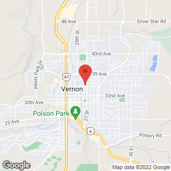 Map of Tim Hortons at 3510 27th St, Vernon, BC V1T 9P1
