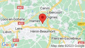 Carte de localisation du centre de contrôle technique COURRIERES