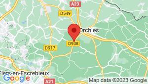Carte de localisation du centre de contrôle technique ORCHIES