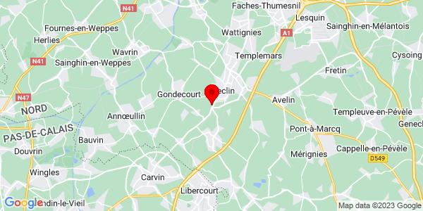 Google Map of 50.536235249194,3.0152750015259