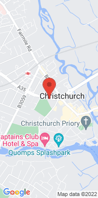 Map showing the location of the Christchurch Barrack Road monitoring site