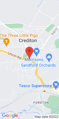 Map showing the location of the Crediton - Haywood School, East street monitoring site