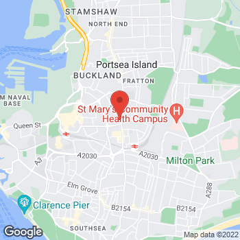 Map of The Bereavement Centre at 157 Fratton Road, Portsmouth, Hampshire PO1 5ER