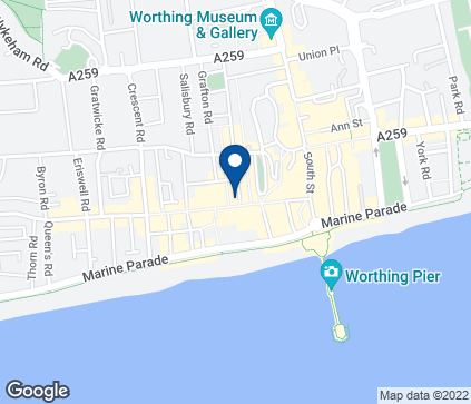 Map of 48-52 Montague Street in Worthing