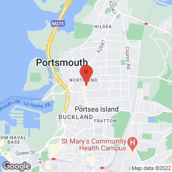 Map of The Co-operative Funeralcare at 52 London Road, Portsmouth, Hampshire PO2 0LN