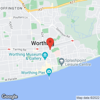 Map of The Co-operative Funeralcare with Caring Lady Worthing at 72 Newland Road,, Worthing, West Sussex BN11 1LB