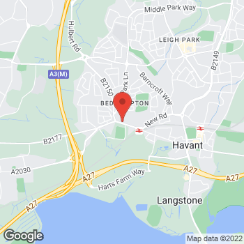 Map of The Co-operative Funeralcare at 96 Bedhampton Road,, Havant, Hampshire PO9 3EZ