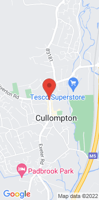 Map showing the location of the Cullompton - Manor House Hotel, Fore Street monitoring site