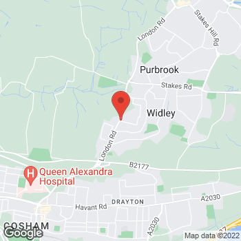 Map of The Co-operative Funeralcare at 1 Cornwall Buildings, Waterlooville, Hampshire PO7 5AB