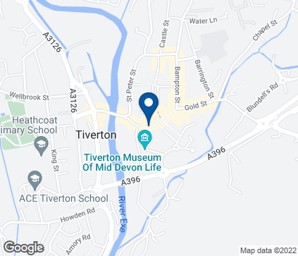 Map of 16 Fore Street in Tiverton