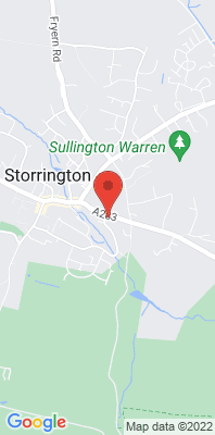 Map showing the location of the Storrington Roadside monitoring site
