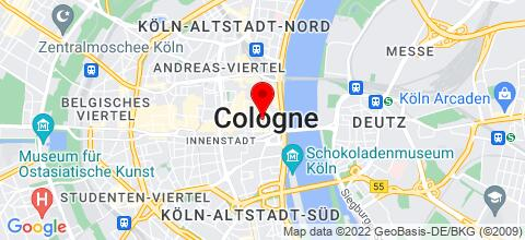 Google Map für apartmondo Ferienwohnungen Köln