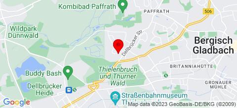 Google Map für Monteurwohnung Baldes Bergisch Gladbach