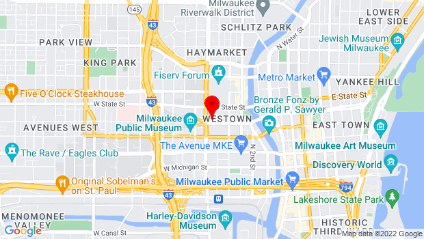 Google Map of 500 W. Kilbourn Avenue, Milwaukee, WI 53203