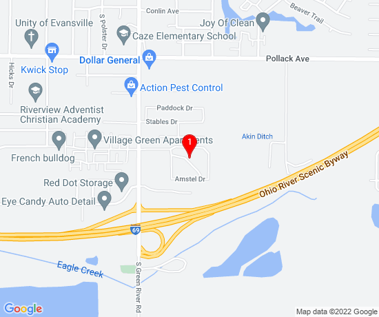 Google Map of 5001 Riverside Dr Evansville IN 47415