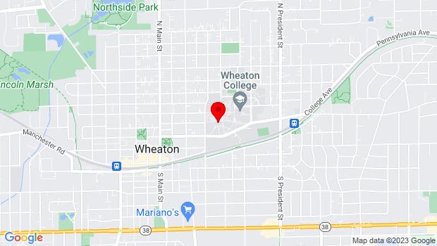 Google Map of 501 College Ave, Wheaton, IL