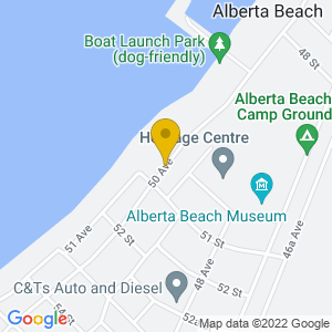 Map to Alberta Beach Summer Village provided by Google