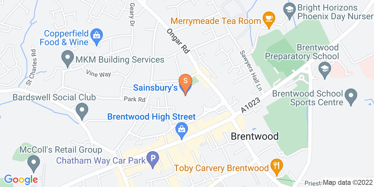 Google Map of 51 William Hunter Way Brentwood CM14 4WQ