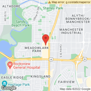 Map of Chinook Eyecare at 145-6455 Macleod Trail SW, Calgary, AB T2H 0K9