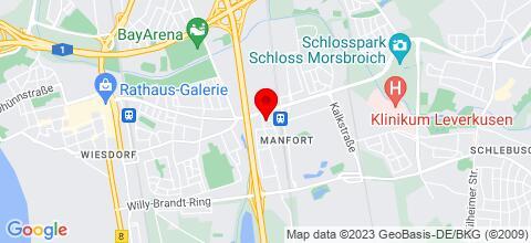 Google Map für 8 Monteurunterkünfte in Leverkusen