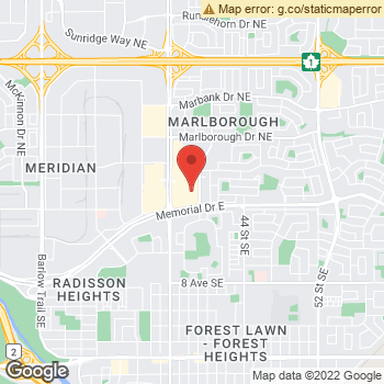 Map of Marlborough Vision Clinic at 1144-3800 Memorial Dr NE, Calgary, AB T2A 2K2