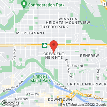 Map of Tim Hortons at 117 1323 Centre St North, Calgary, AB T2E 2R5