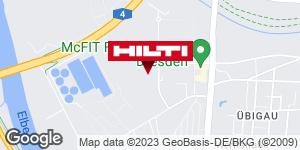 Wegbeschreibung zu Hilti Store Dresden-Übigau