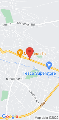 Map showing the location of the Barnstaple A39 monitoring site