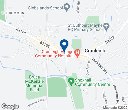 Map of 1 & 2 Village Chambers in Cranleigh