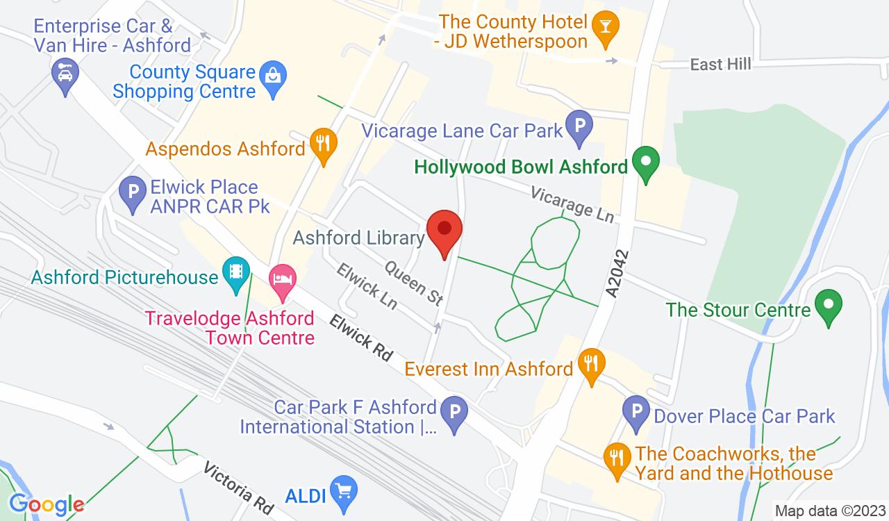 Google Map of Ashford Visitor Information Centre, Ashford, UK