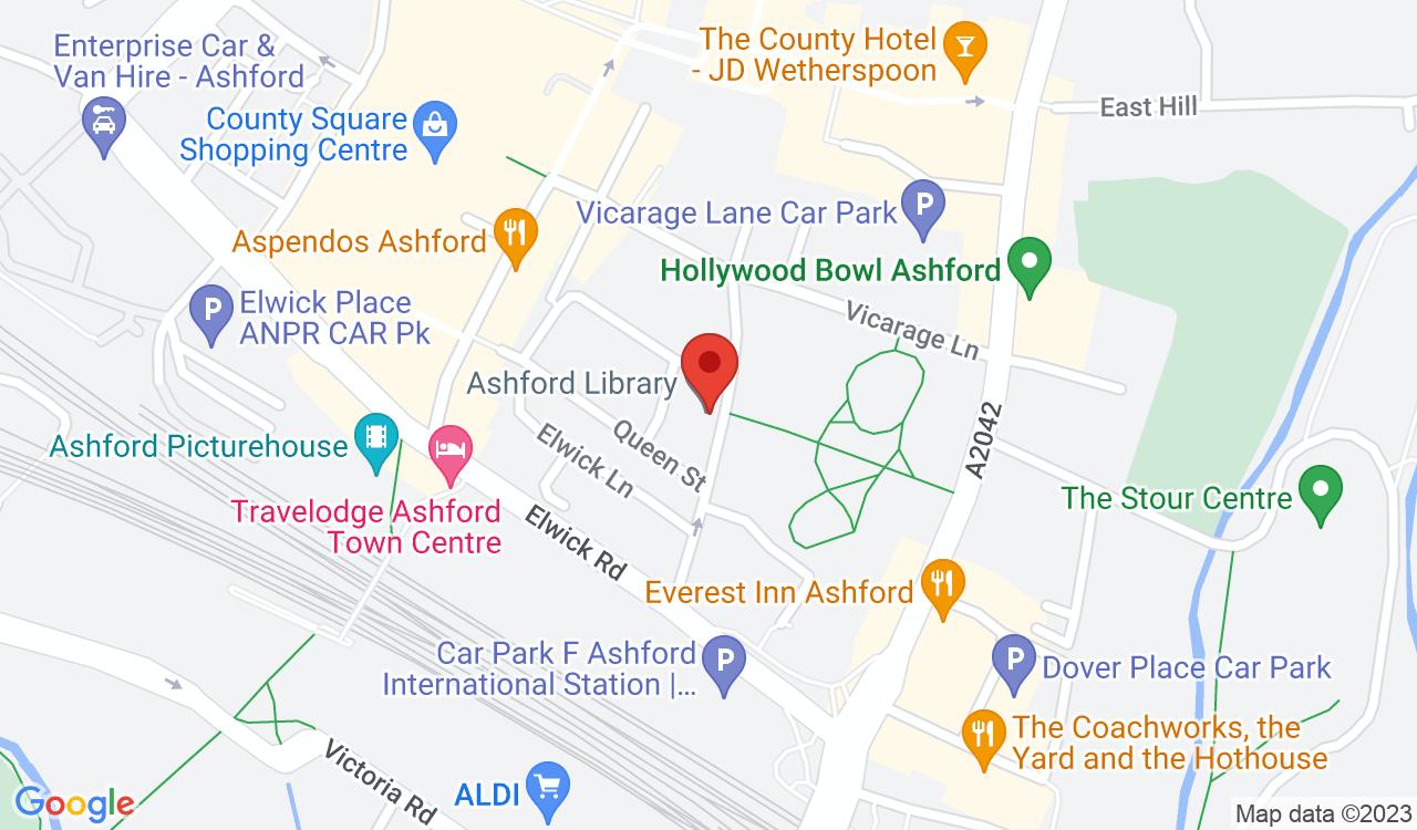 Google Map of Ashford Gateway Plus, Ashford, UK