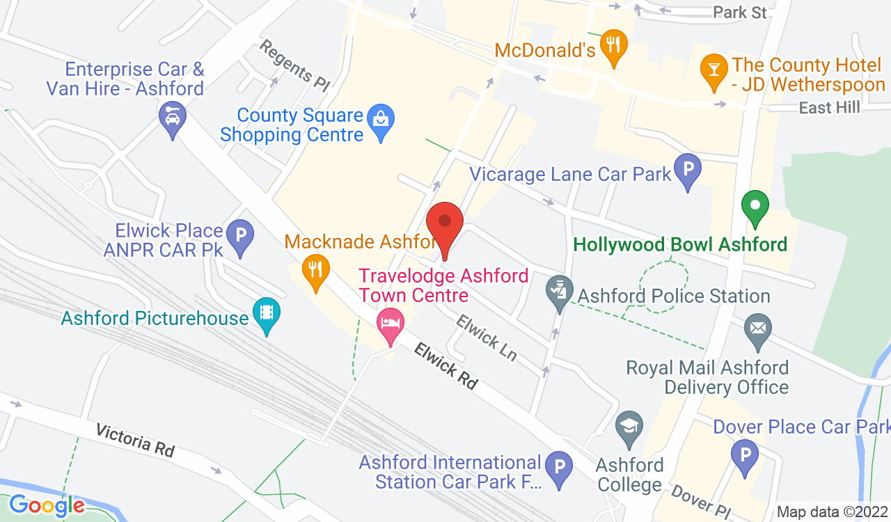 Google Map of Ashford Custom Tattoo, Ashford, UK