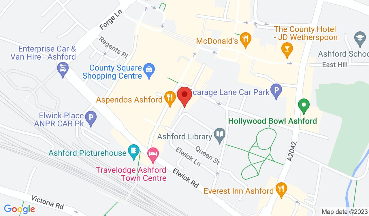 Google Map of Brownbills Optometrists, Ashford, UK