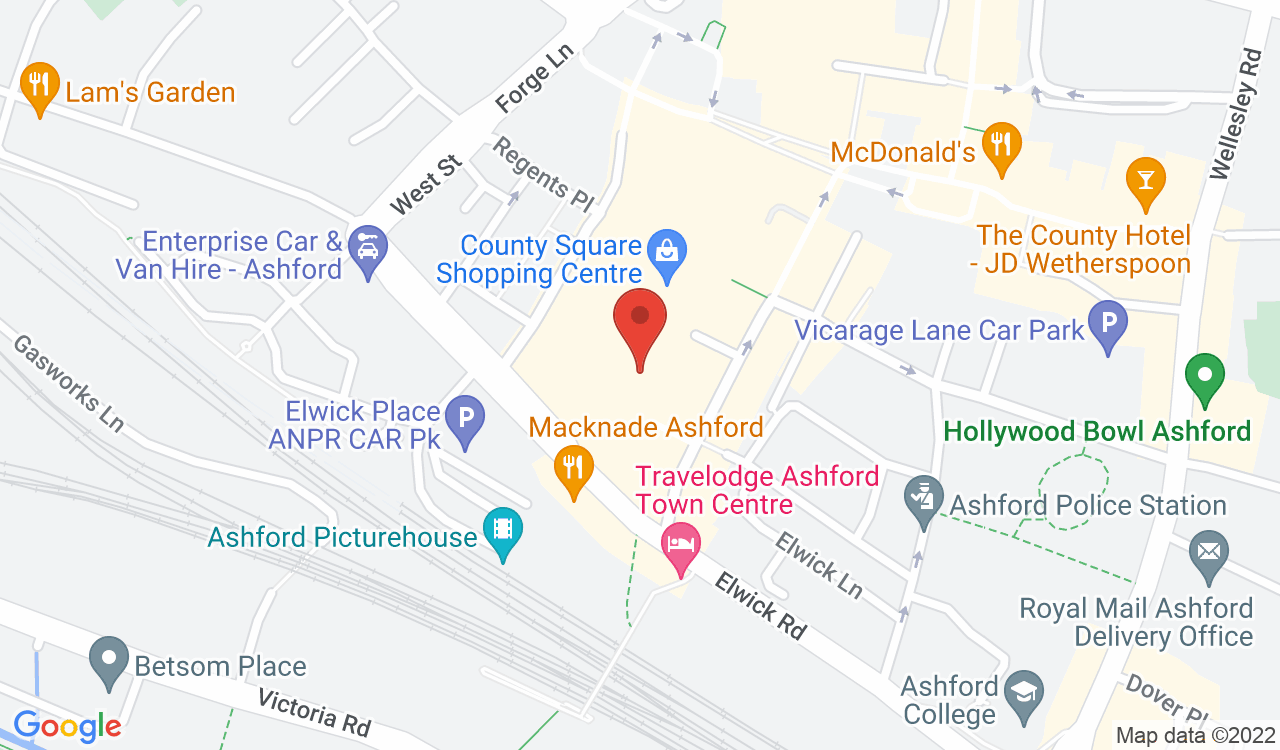 Google Map of Burger King, Ashford, UK