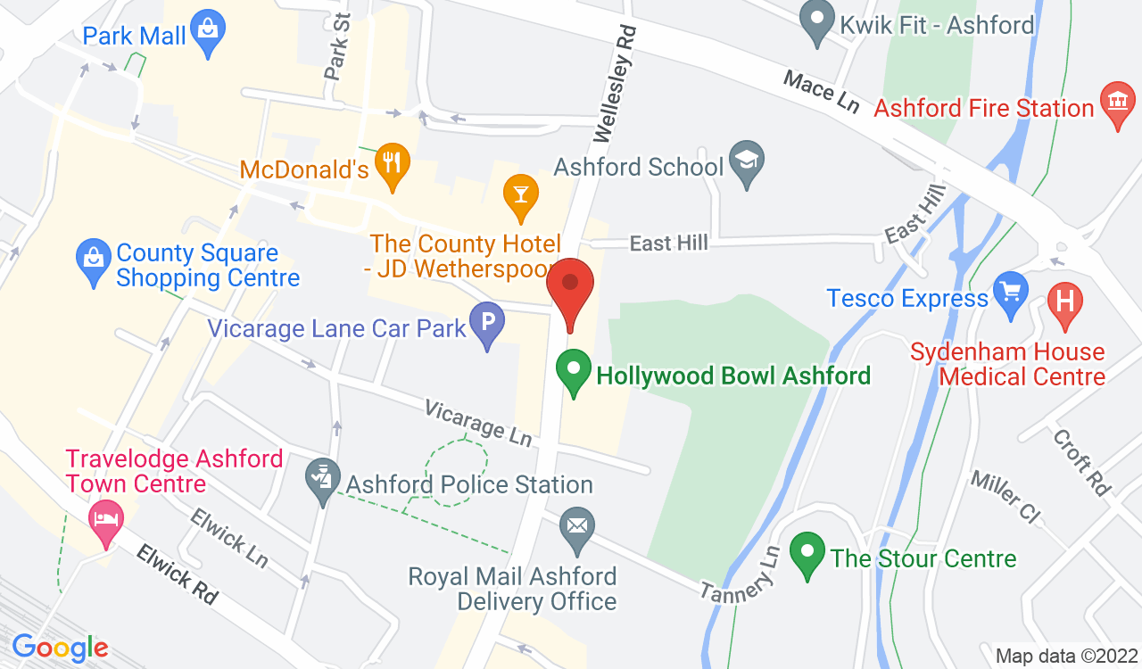 Google Map of Youngs Travel, Ashford, UK