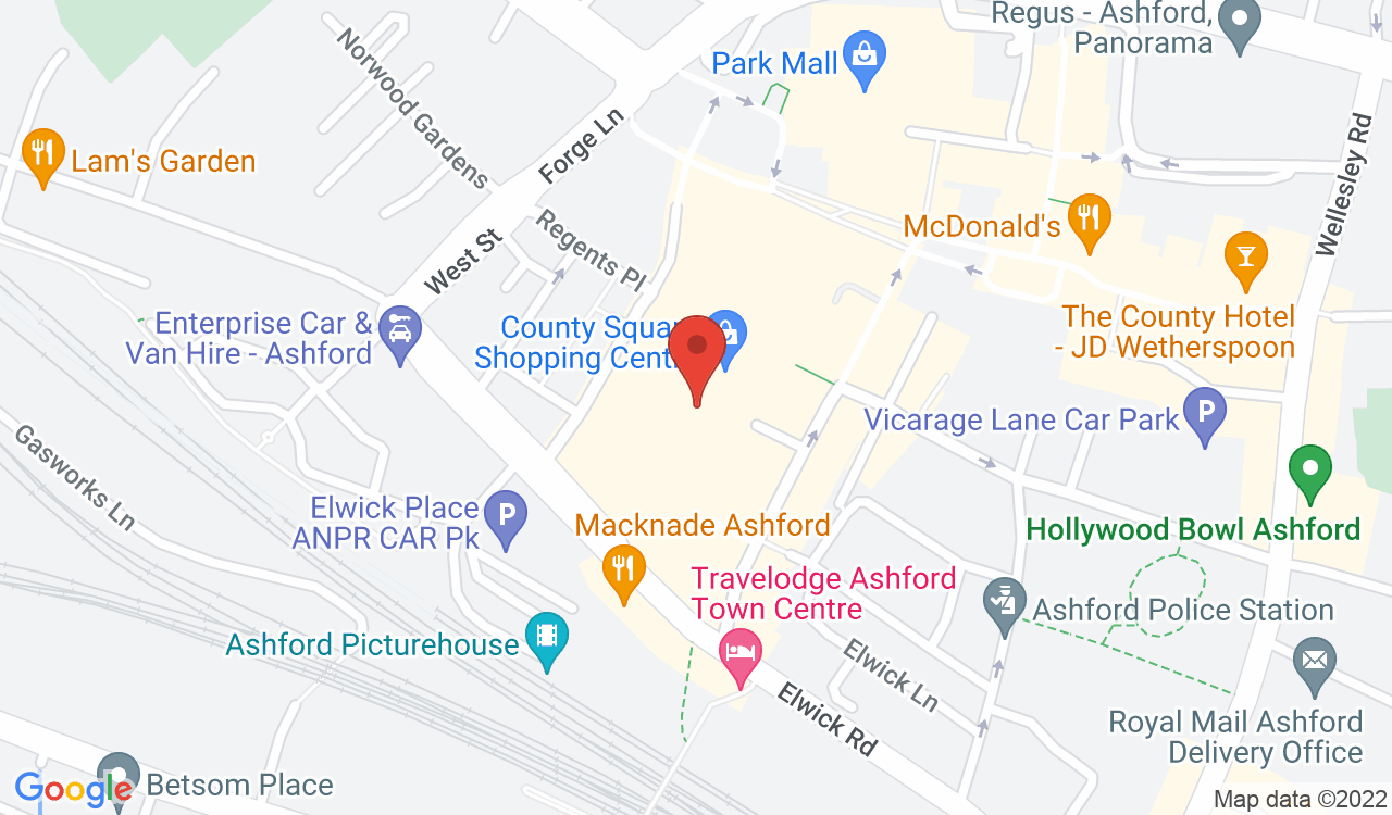 Google Map of County Square Shopping Centre, Ashford, UK