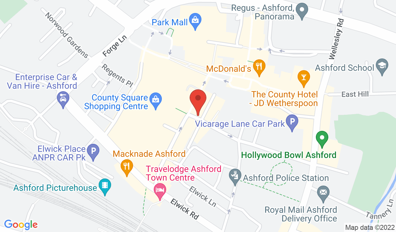 Google Map of Dyson Brown Hairdressing Salon, Ashford, UK