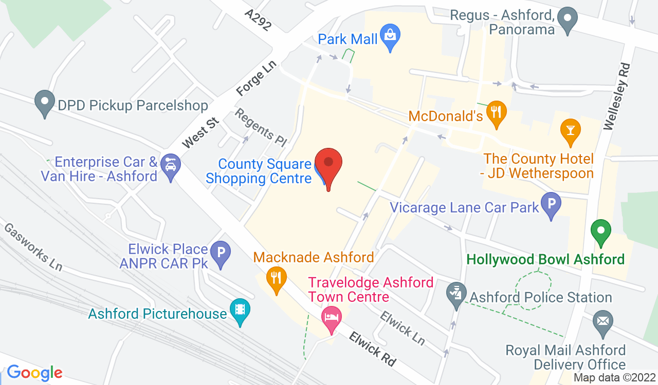 Google Map of Peacocks, Ashford, UK