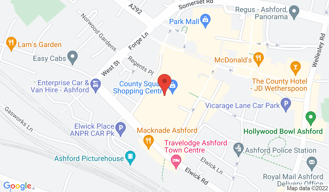 Google Map of The Entertainer, Ashford, UK