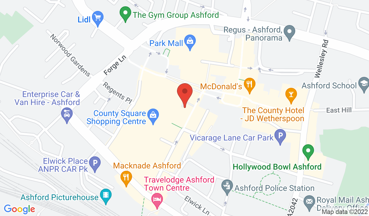Google Map of Dyson Brown Gents Hairdressing, Ashford, UK
