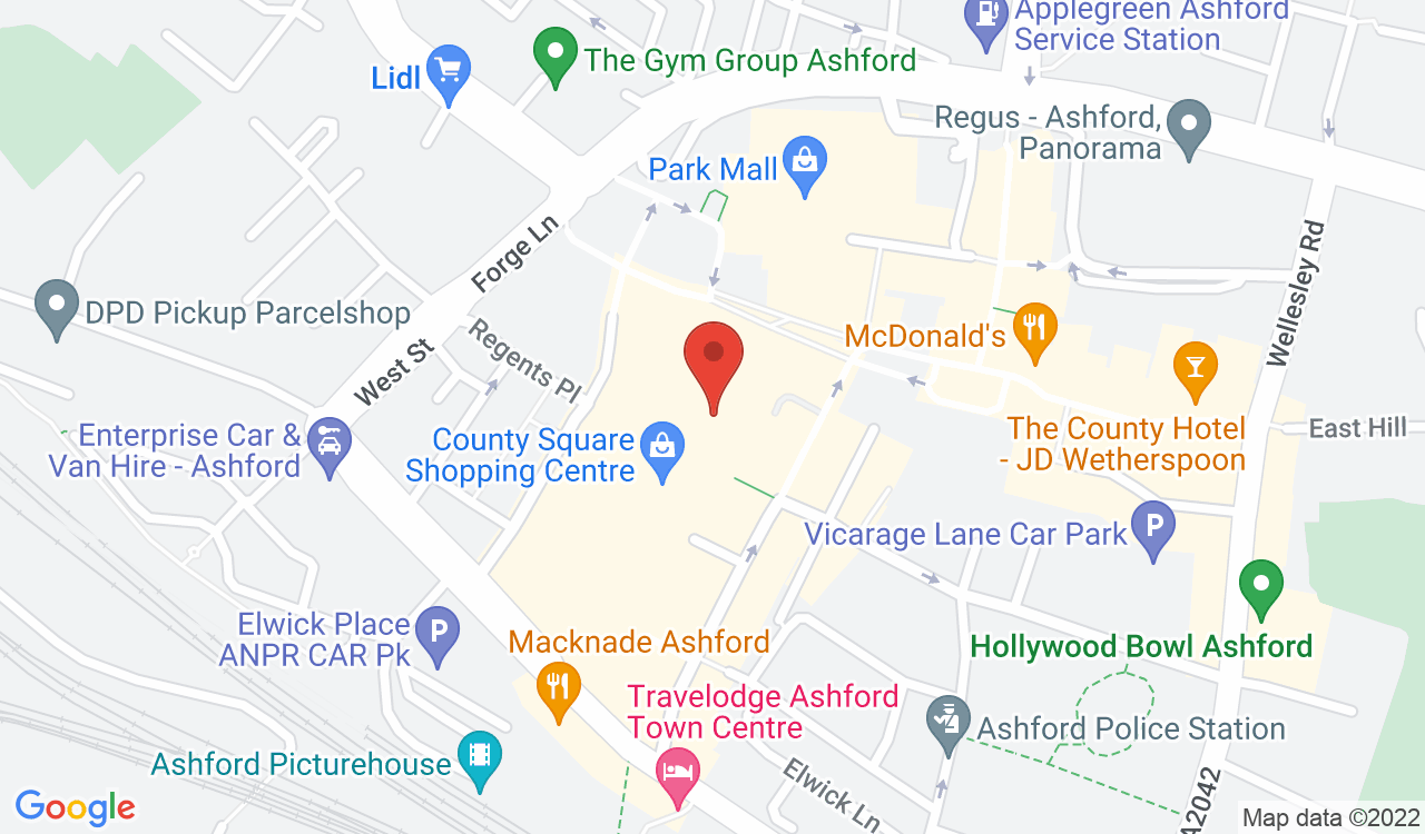 Google Map of F. Hinds the Jewellers, Ashford, UK